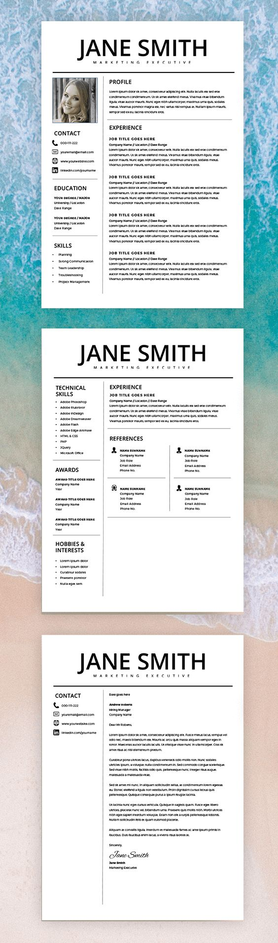 Professional Resume Template - Word & Page Compatible - Best CV Template - Free Cover Letter - Mac / PC - Sample - Instant Download