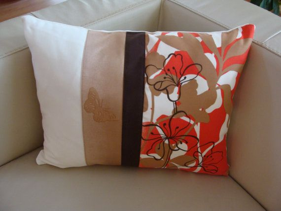 Decorative Pillow Cover with Flowers and Butterfly, Brow & Red, Modern Decor, Assorted Colors and Floral Design, 14X20, Unique Model Modern