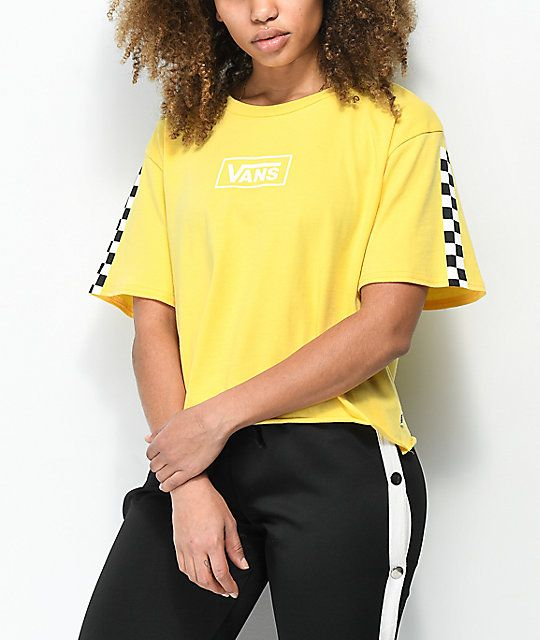 a85af8f1260d Vans Checkerboard Yellow Crop T-Shirt in 2019 | Sweet 16 ...