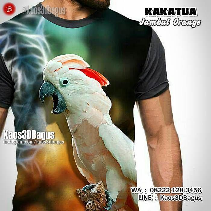 Kaos KAKATUA Jambul ORANGE, Kaos Burung Kakatua, Cockatoo, Parrot Lovers, Kaos3D, https://www.facebook.com/kaos3dbagus, WA : 08222 128 3456, LINE : Kaos3DBagus