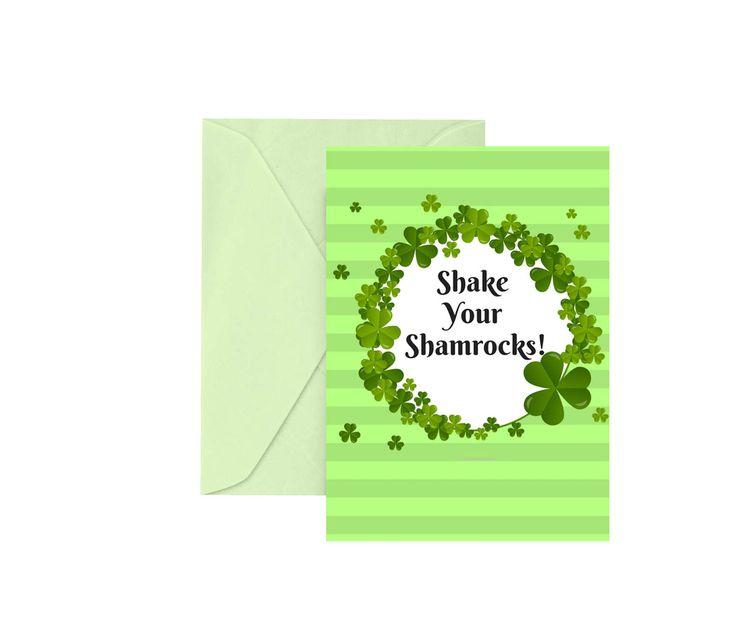"Funny St. Patrick's Day Card ""Shake Your Shamrocks"" Greeting Card Irish Greeting Card Happy St. Patrick's Day Happy St. Paddy's Day Green by WalkingMombieDesign on Etsy"
