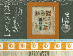 """""""Celebrate Boo is the title of this cross stitch pattern from Lizzie Kate and the price includes the chart and small brass/gold toned moon charm. The design can be stitched with DMC threads. """""""