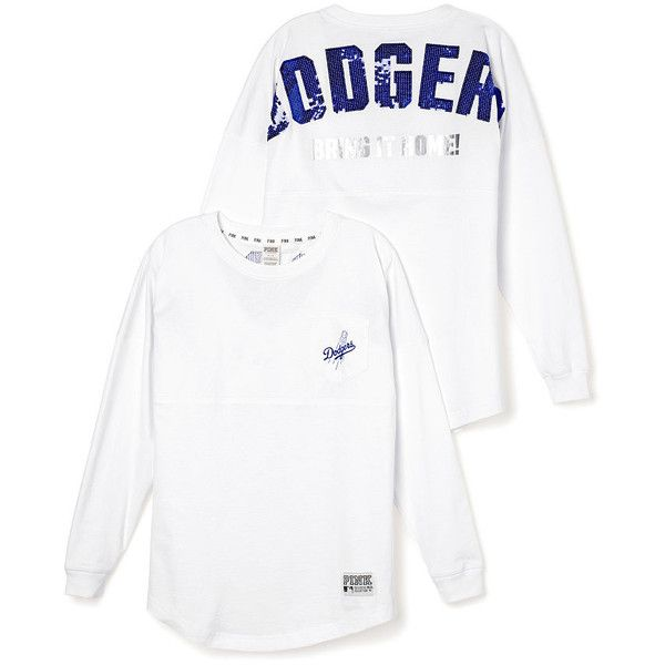 PINK Los Angeles Dodgers Bling Varsity Crew ($33) ❤ liked on Polyvore