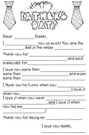 "Father's Day Printable for the Kids: I'm totally doing this as a Mad Libs with Diego for Jonah. Diego always says nouns like ""poop"" and ""fart"" and adj. like ""slimy"" and ""staining"". Should be hilarious."
