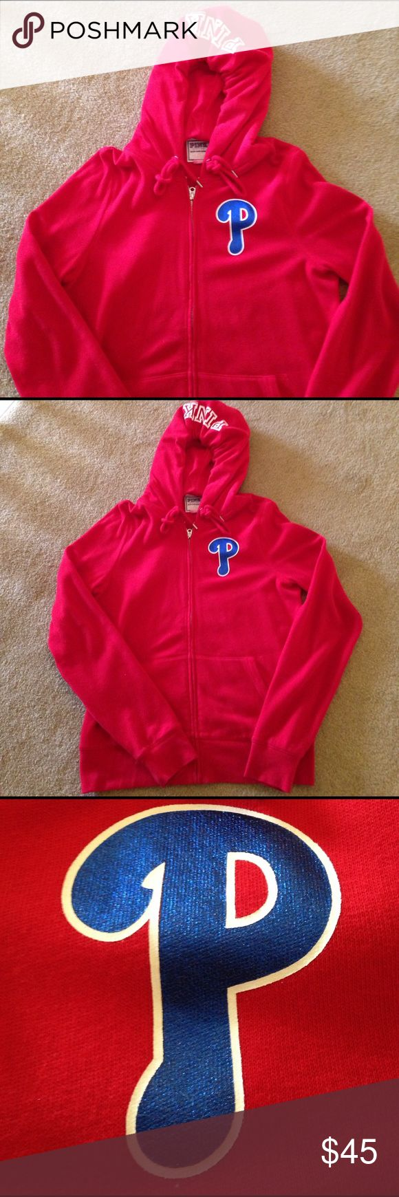 ⚾️Victoria Secret PINK Phillies Sweatshirt⚾️ ⚾️Worn once/Brand New condition ⚾️never washed⚾️60% Cotton and 40% Polyester⚾️Metallic blue and white screen print on red hoodie zip up sweatshirt⚾️ PINK Victoria's Secret Tops Sweatshirts & Hoodies