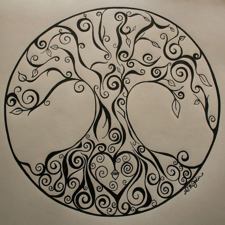 Tree of life...would make a cute tat.. how to incorporate family names?? I think first initial working from top with either mom dad, or going back further