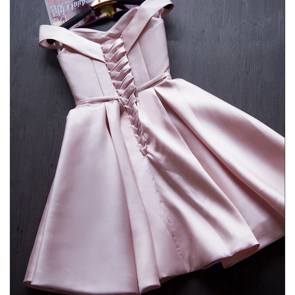 Pink Satin Off The Shoulder Short Party Dress YV17053 ($47) ❤ liked on Polyvore featuring dresses, pink off shoulder dress, off the shoulder short dress, pink satin dress, short length dresses and short dresses