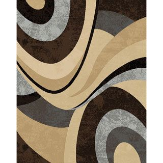 Grey,, Charcoal, and Beige Plush Area Rug