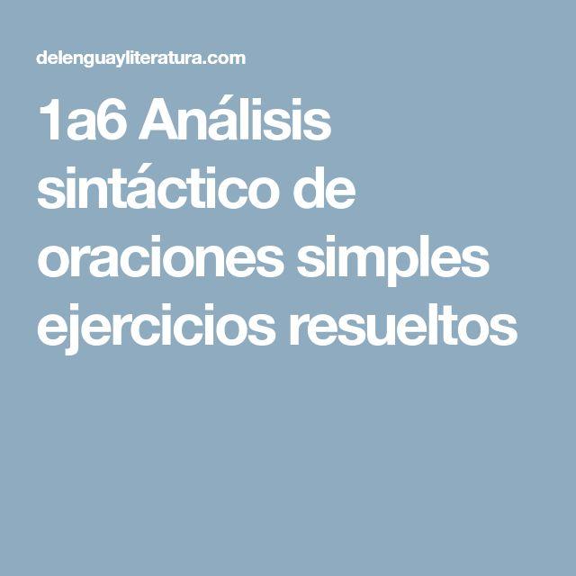1a6 Análisis sintáctico de oraciones simples ejercicios resueltos