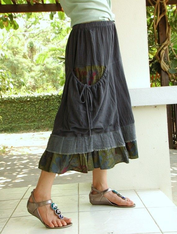 Moment To Love...Cotton Skirt Hand dyed in Dark by beyondclothing