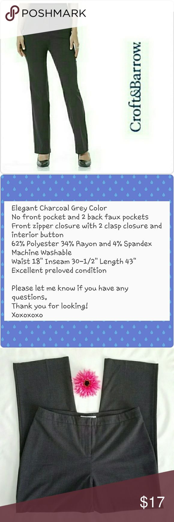 Croft & Barrow Gray Dress Slacks Pants Size 16 Hi! Thank you so much for stopping by my closet! I hope you'll find something you love! See picture #2 for all the details and please let me know if you have any questions! Much love,  Christine croft & barrow Pants Trousers