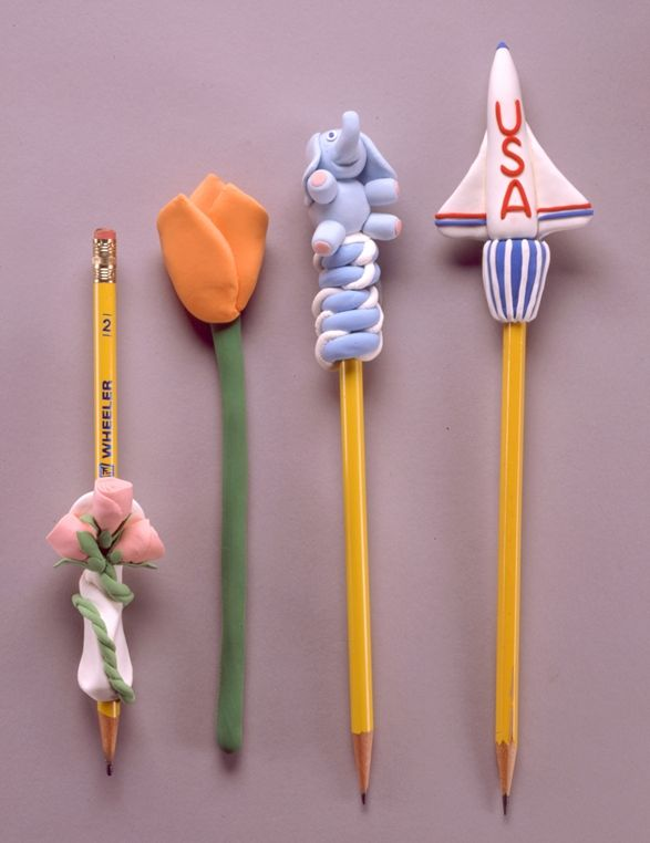 Pencil toppers made with crayola model magic