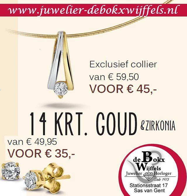 Solden bij juwelier de Bokx Wijffels hanger goud van €59,50 voor €45 oorbellen goud van €49,95 voor €35 op=op #solden #korting  #sieraden #juwelier #juwelen