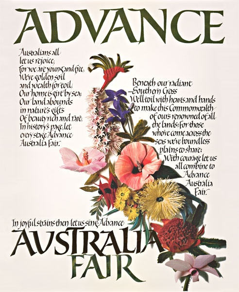 I like all these flowers as a new tattoo a complete set of all the states flora! Australia's National Anthem Advance Australia Fair calligraphy print