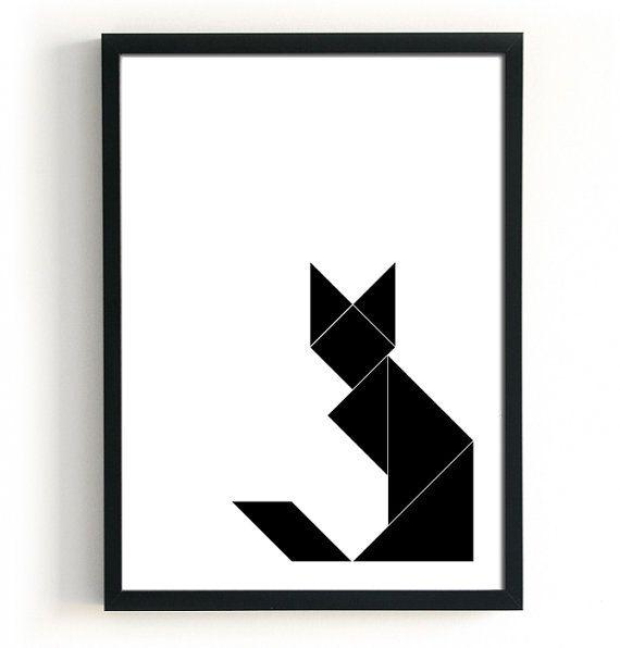 Geometric Cat Print Black cat poster Geometric fox by BlacknBoo