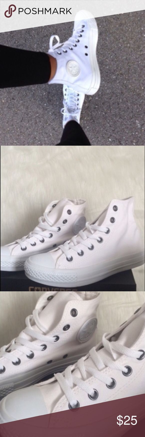 🛍1 HOUR SALE! CONVERSE WHITE WOMENS SHOES SIZE 7 No box Converse Shoes Sneakers