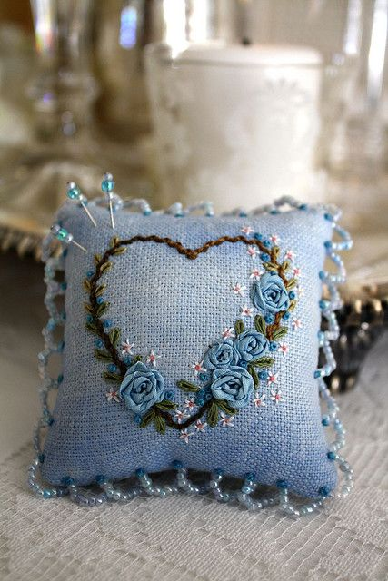 blue rose pin cushion