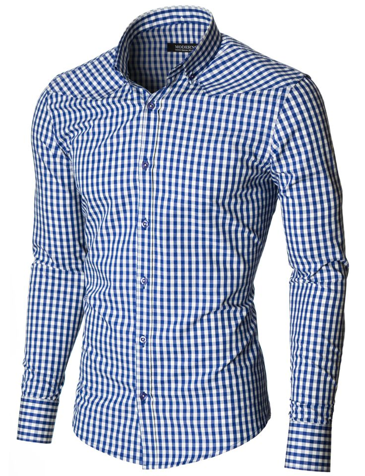 Mens slim fit long sleeve checkered dress shirt blue & white (MOD1458LS)