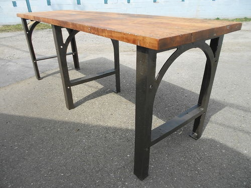 1930s industrial maple table top cast iron steampunk workbench kitchen island - Maple Kitchen Table