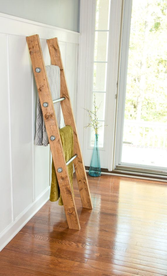 Wooden Ladder Industrial Pipe Blanket Ladder Industrial Furniture Quilt Rack Reclaimed