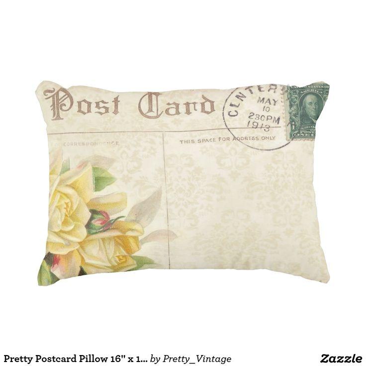 """Pretty Postcard Pillow 16"""" x 12"""""""