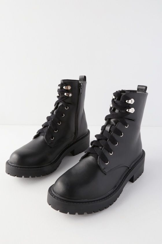 Alicee Black Lace-Up Combat Boots