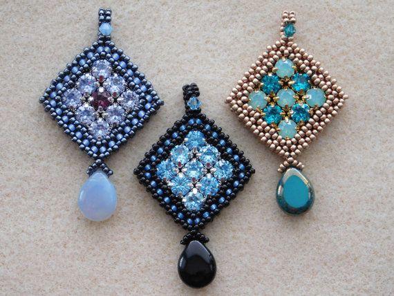 Beaded Pendant Tutorial, Jewelry Pattern, Instructions, CRAW, Swarovski 6.5mm…