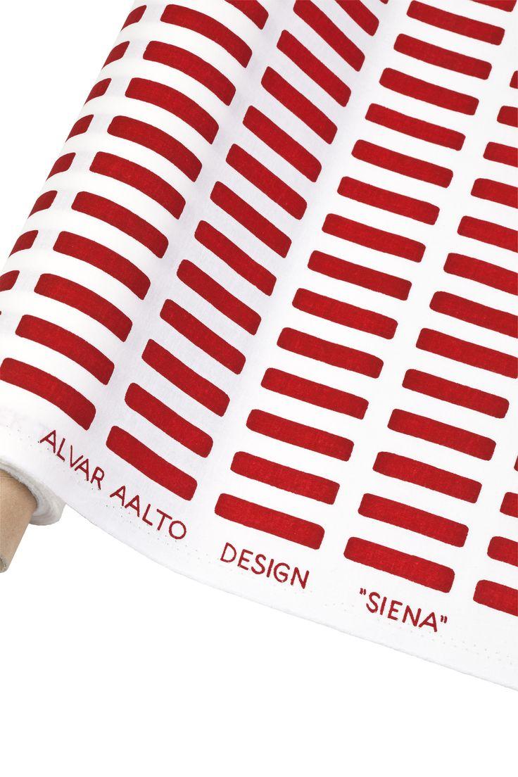 Fabric Siena white/red