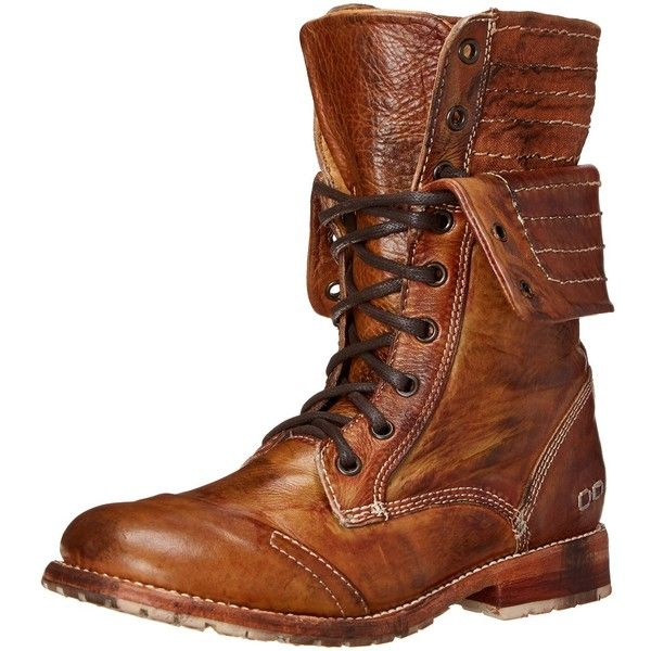 Bed Stu Women's Roanne Motorcycle Boot ($255) ❤ liked on Polyvore featuring shoes, boots, fold-over boots, combat boots, military lace up boots, motorcycle boots and leather motorcycle boots