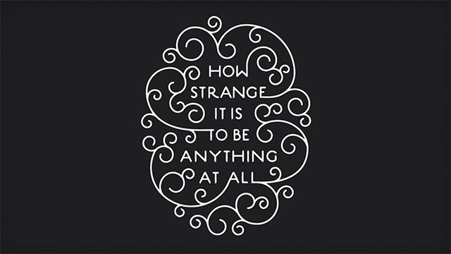"""""""How strange is it to be anything at all"""""""