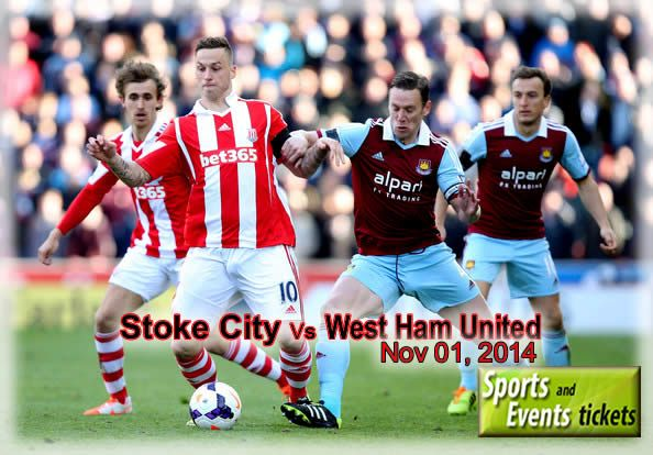 English Premier League will show Stoke City Vs West ham United match on 1 November 2014. Football Fans can get Tickets from  https://www.sportsandeventstickets.com/premier-league-tickets/stoke-city-tickets/stoke-city-vs-west-ham-united-tickets.saet