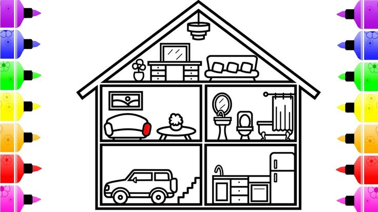 How to Draw inside House for Kids - House Coloring Page ...