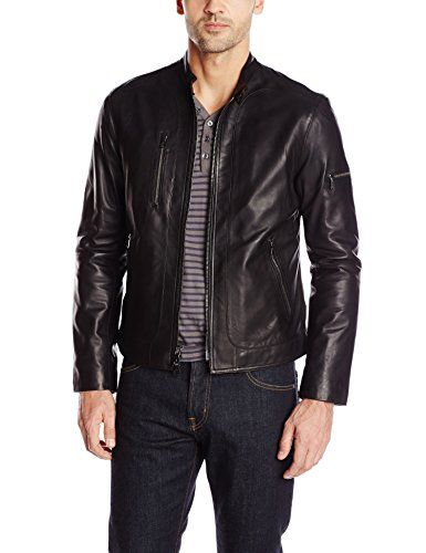 John Varvatos Collection Men's Short Zip Leather Jacket, ...