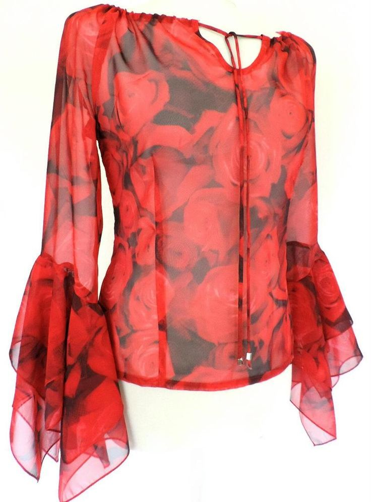BETTY BARCLAY RED ROSE BLOUSE TOP WIDE FLOATY SLEEVES VINTAGE ROMANTIC STYLE 10