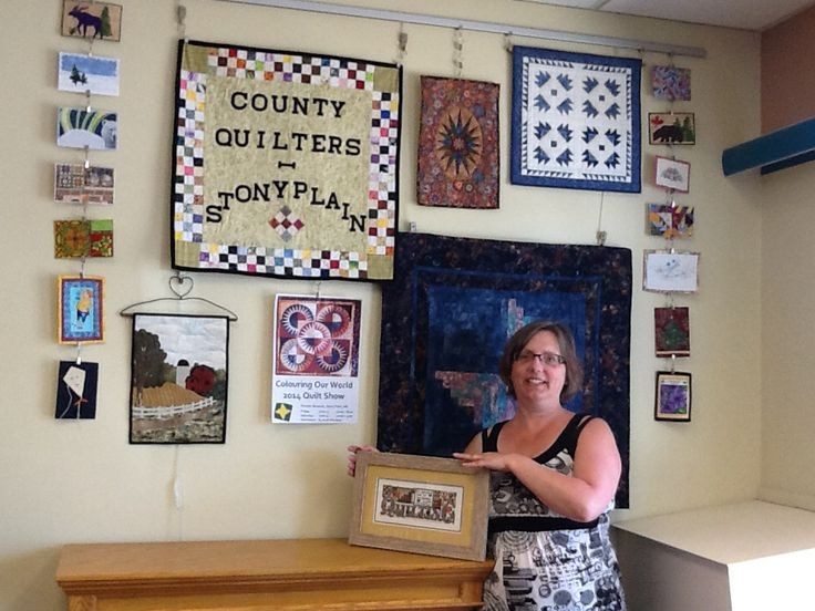 Stony plain library display , by the County Quilters 2014