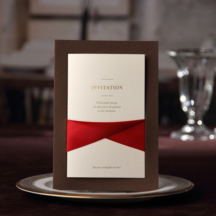 wedding card invitation cards online%0A About The Cards  Item  Luxurious Coffee Invitation with Elegant Ribbon Card  Size  x   Material  Card Paper Card