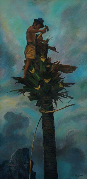 Rustamadji (Klaten, 1921 - 2001) - Menebang Pohon Kelapa, 1986.