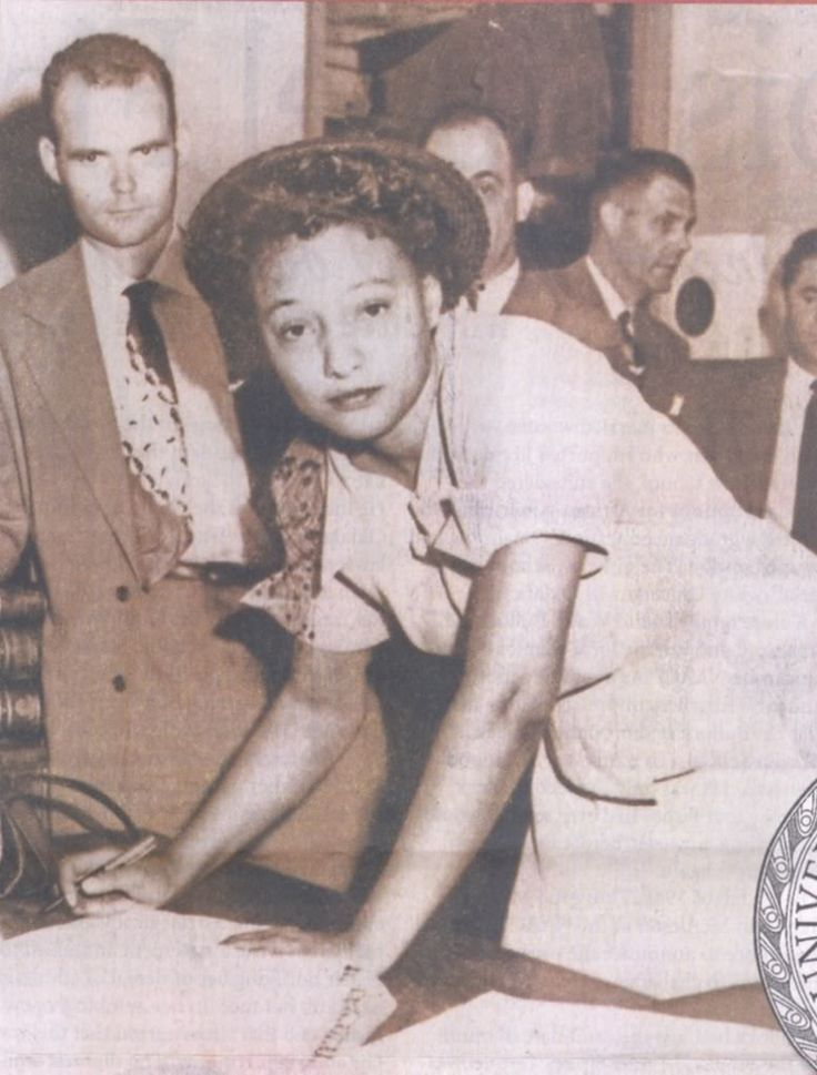 """Ada Lois Sipuel Fisher 1948 Ada Lois Sipuel When denied admission on the basis of race, Fisher filed a suit asserting that she must be admitted to the OU Law School since there was no comparable facility for African American students. Losing in state courts, Marshall argued the case before the Supreme Court which reversed the lower courts in 1948"""
