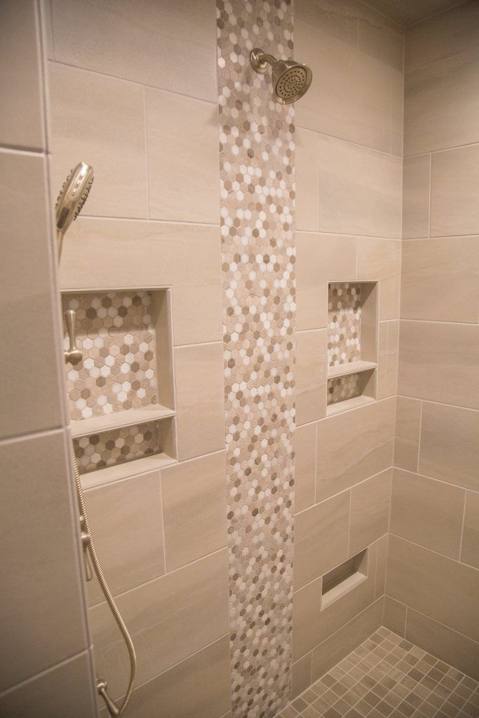 Beige Porcelain Tile Shower With Accent