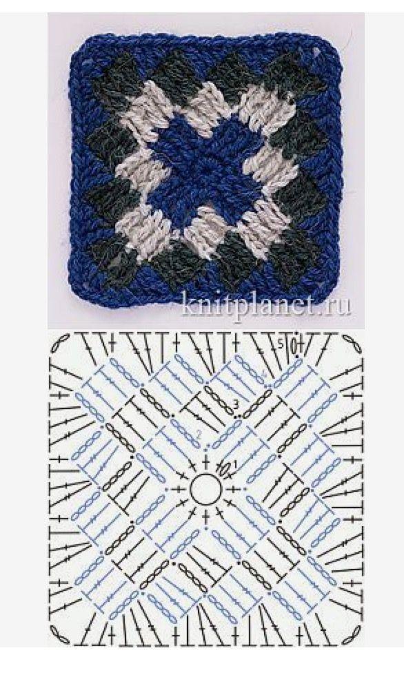 Entrelac-like crochet granny square