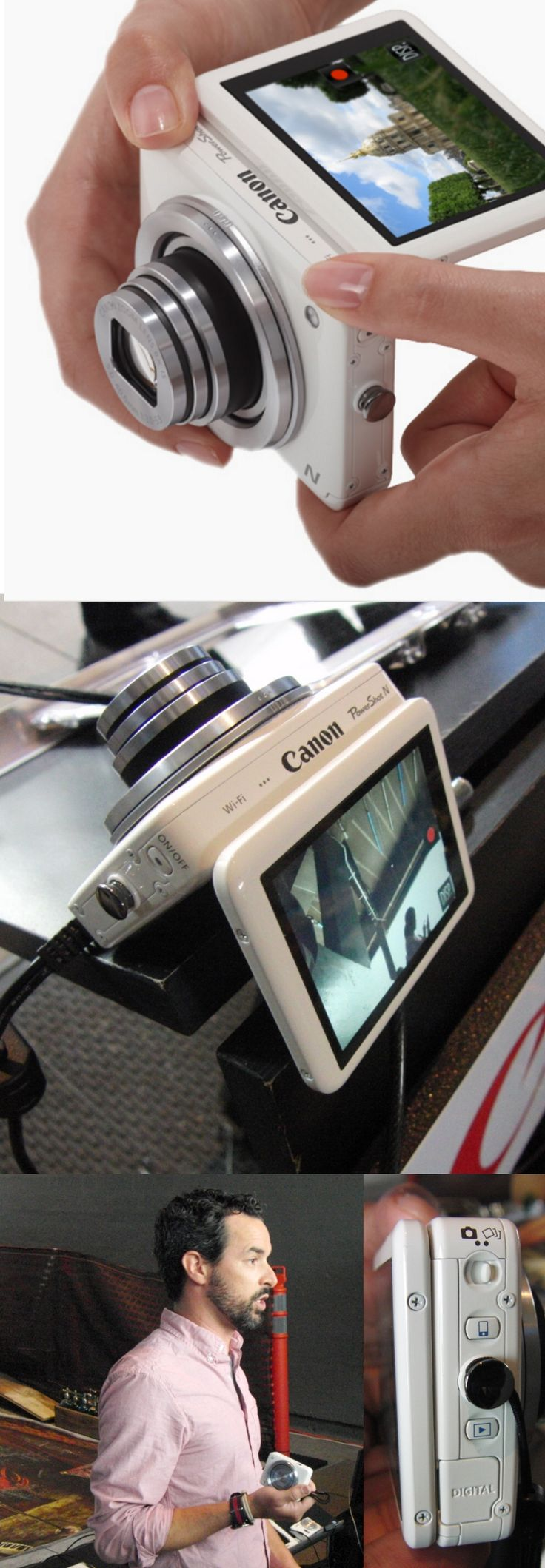 Canon set up shop on New York's above-ground High Line Park to showcase its PowerShot line of Wi-Fi-enabled digital cameras. Instagram wiz Brian DiFeo (@Brian Flanagan Flanagan DiFeo Instagram: bridif) showed off the PowerShot N1, a 12-megapixel palm-size unit with 8X optical zoom which can wirelessly send images to a smartphone or to social media sites. You can snap an image by touching the 2.8-inch touch screen, which can swivel up.