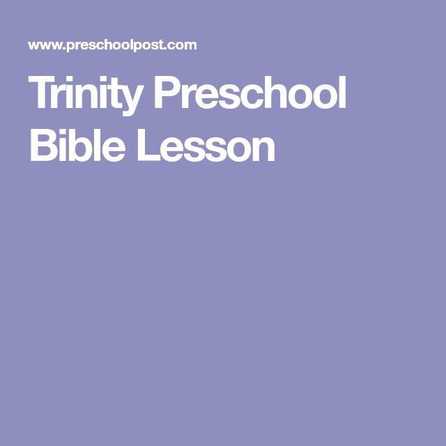 Trinity Preschool Bible Lesson