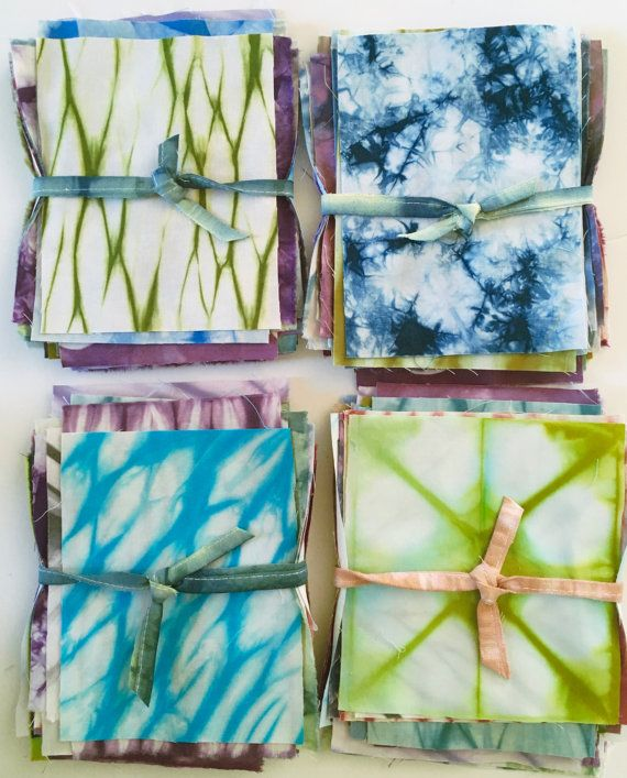 Shibori Fabric Scraps Hand Dyed Fabric Gift For by CapeCodShibori