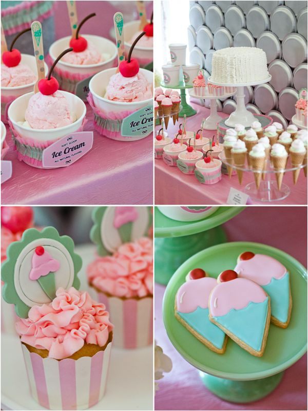 Totally GORGEOUS Ice Cream Party with so many DIY details and printables!! #icecream #ice #frozen #parlor #printables #party #partyideas #pretty #pink #inspiration #festas #festa #sorvete #glace #anniversaire #birthday