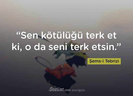 """""""Sen kötülüğü terk et ki, o da seni terk etsin."""" #şemsi #tebrizi #sözleri #şair #yazar #kitap #anlamlı #özlü #alıntı #sözler"""