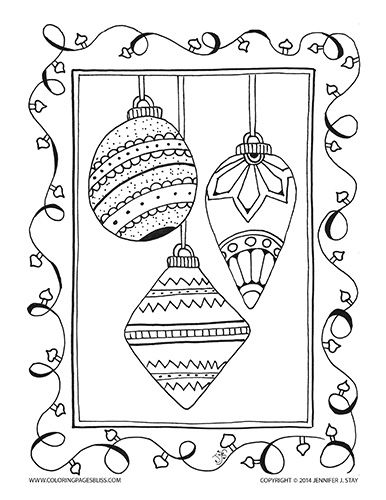 Christmas ornament with Christmas lights coloring page for adults and grown ups. Hand drawn by Jennifer Stay and available with many other holiday printable coloring pages at Coloring Pages Bliss