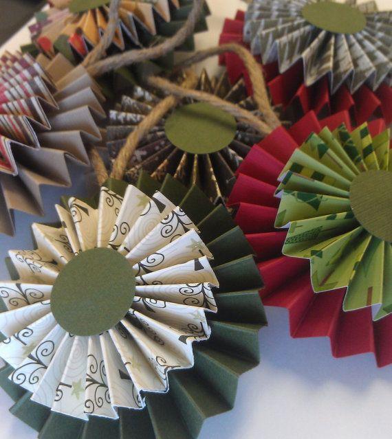 Rosette Christmas Ornaments - Set of 6 - Paper Rosettes - Christmas Decor