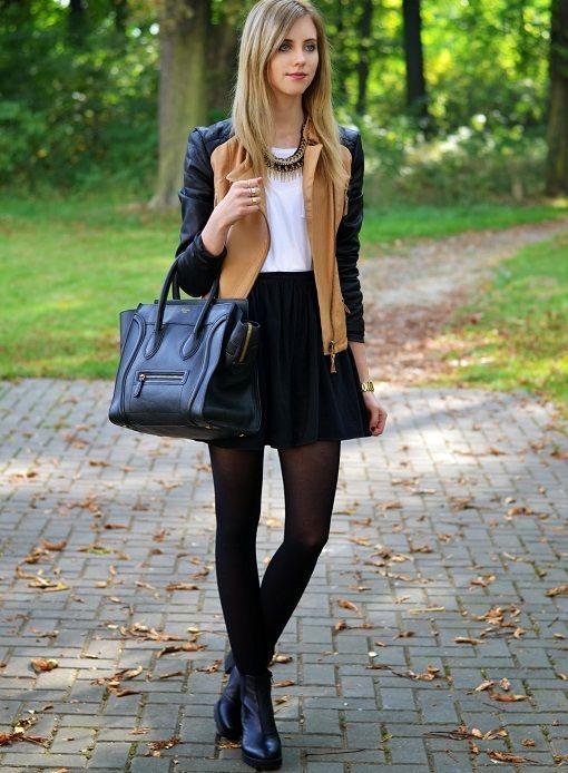 ad0189b0a Resultado de imagen para falda con medias veladas y botines | Casual ...