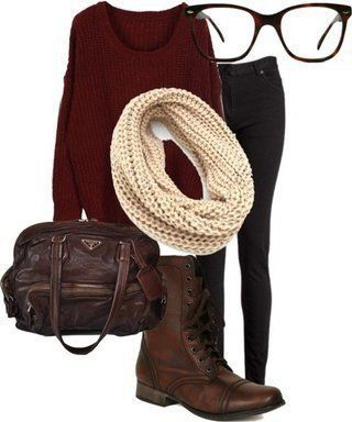 Nerd glasses with plum top, brown combat boots, cream scarf, and dark jeans