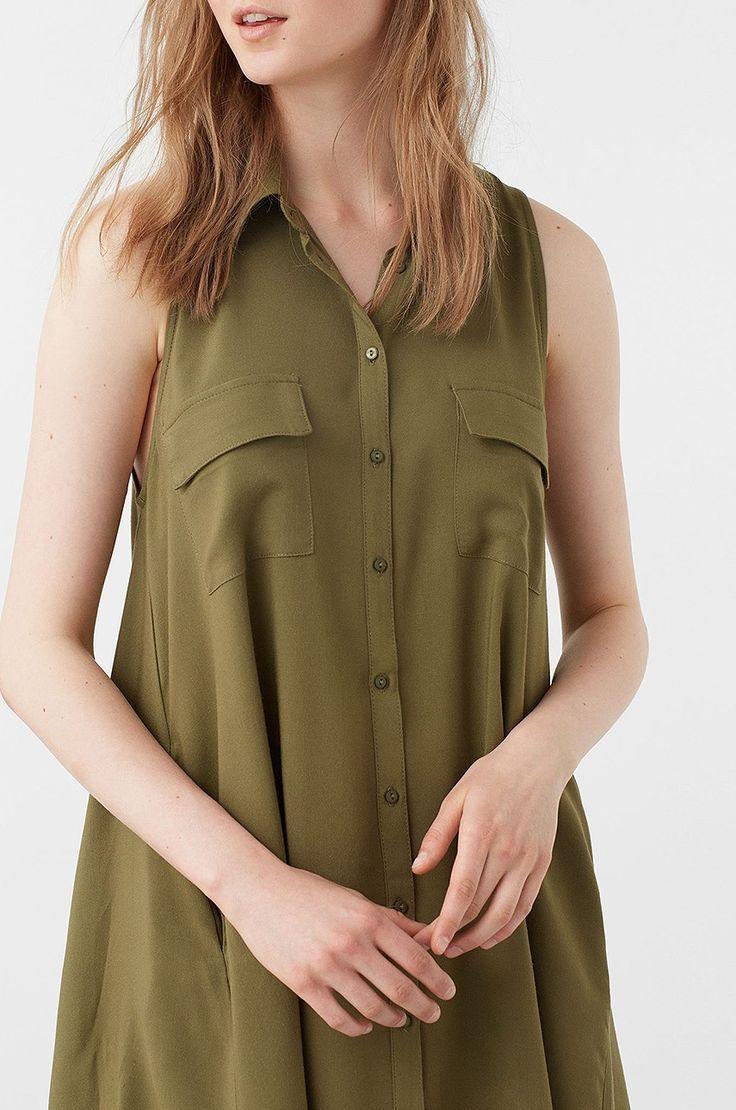 Mango - Sukienka khaki koszulowa bez rękawów